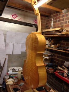 Just put on the 1st coat of coloured varnish