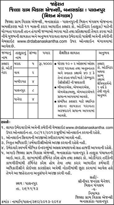 DRDA Banaskantha Palanpur Cluster Coordinator Recruitment 2013 Jobs