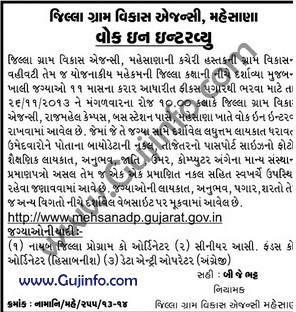 District Rural Development Agency Mehasana Vacancies 2013 Jobs