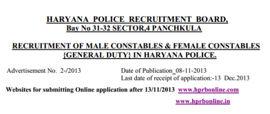 Haryana Police Recruitment Board 2013 Vacancies Jobs