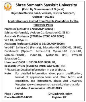 Somnath Sanskrit University Teaching Staff Recruitment 2013 Jobs