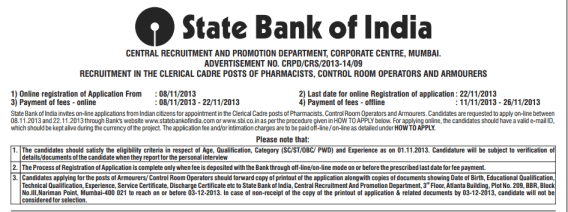 SBI Online Pharmacists CROs Armourer 76 Post Recruitment 2013 Jobs