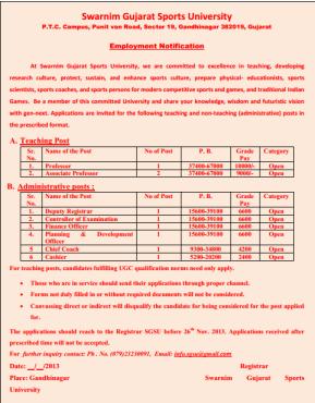 Swarnim Gujarat Sports University Recruitment 2013 / 2014