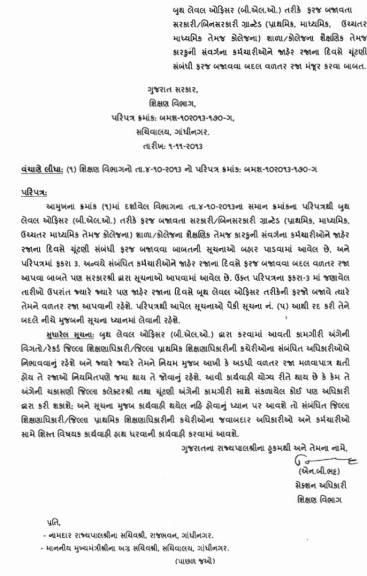 BLO Vadtar Raja Paripatra Sudharo 1-11-2013