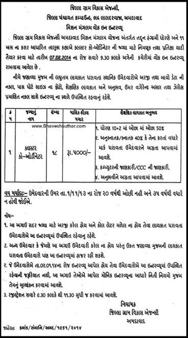Jilla Gram Vikas Agency Ahmedabad Cluster Coordinater Recruitment