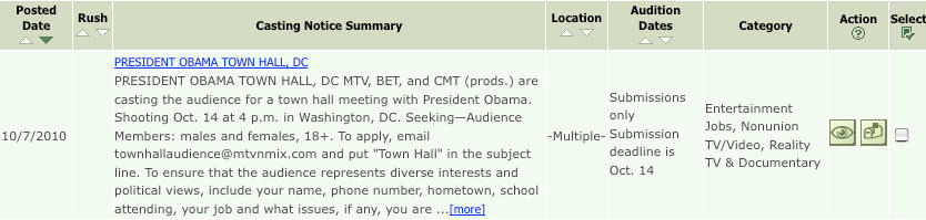 Obama is Casting Actors for Town Hall Audience per Nielsen's 'Back Stage' Nielsen4.