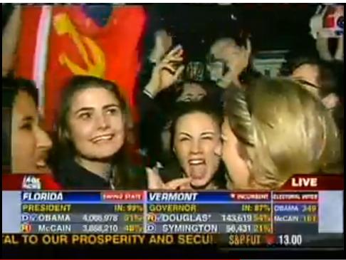 Soviet Communist flag at White House celebration DC on Obama's election night