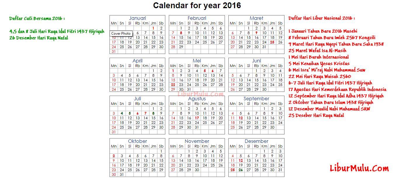 Jadwal Hari libur Nasional 2016 dan hari cuti bersama 2016
