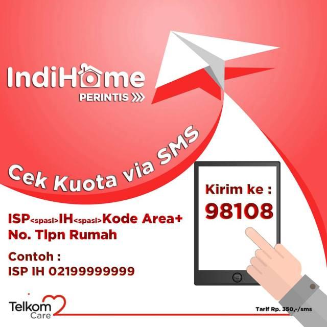 Cara cek Kuota IndiHome melalui sms via Facebook Telkom Care