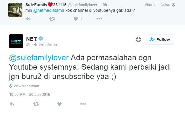Akun YouTube NET TV Sedang Mengalami Masalah