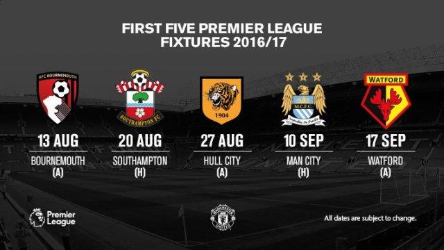 Lima Jadwal Awal Pertandingan Manchester United
