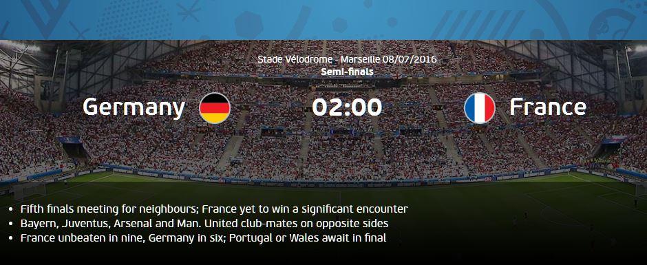 Pertandingan antara Jerman vs Prancis