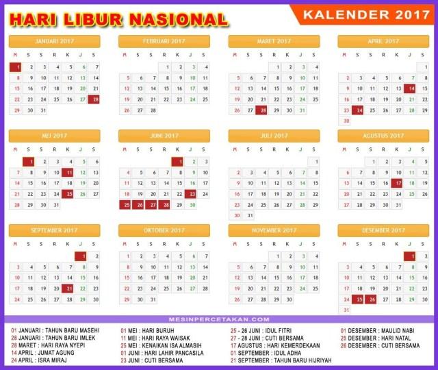 Jadwal Hari Libur 2017