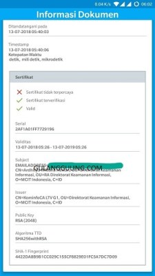 Verifikasi Tanda Tangan digital menggunakan aplikasi Android