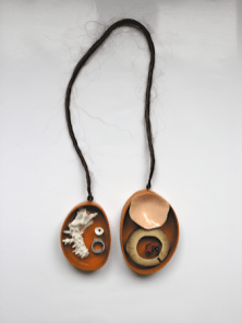 Necklace: Heart, 2009. Wood, coral, bamboo, horsehairnickel, polymer clay, pigment. 40x25x4 cm.