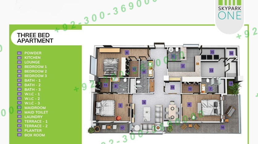 three bedrooms apartment sky park one
