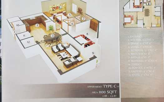 Gulberg Dream Heights 1100 Sq.ft Floor Plan