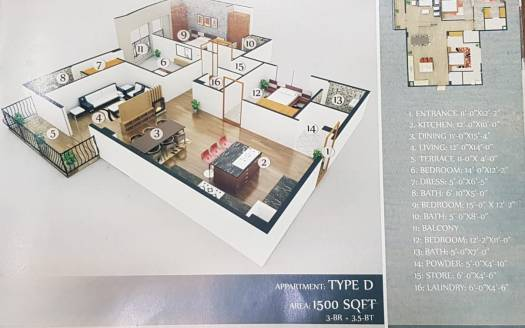 Gulberg Dream Heights 1500 Sq.ft Floor Plan