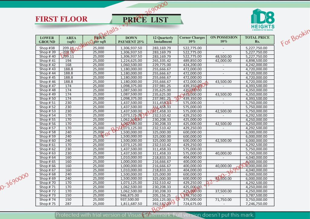 D 8 heights Gulberg First Floor Payment Plan