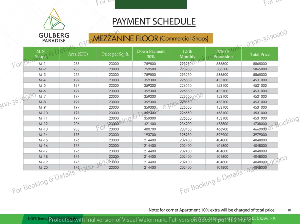 mezzanine floor payment plan gulber paradise