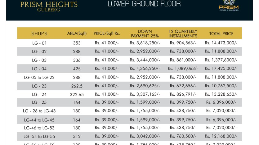 Prism heights gulberg lower ground floor plan 01
