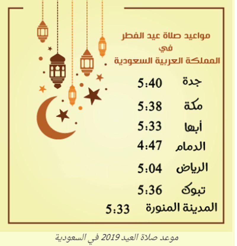 موعد صلاة عيد الفطر 1440 في السعودية جده والمدينه ومكه تاريخ اول