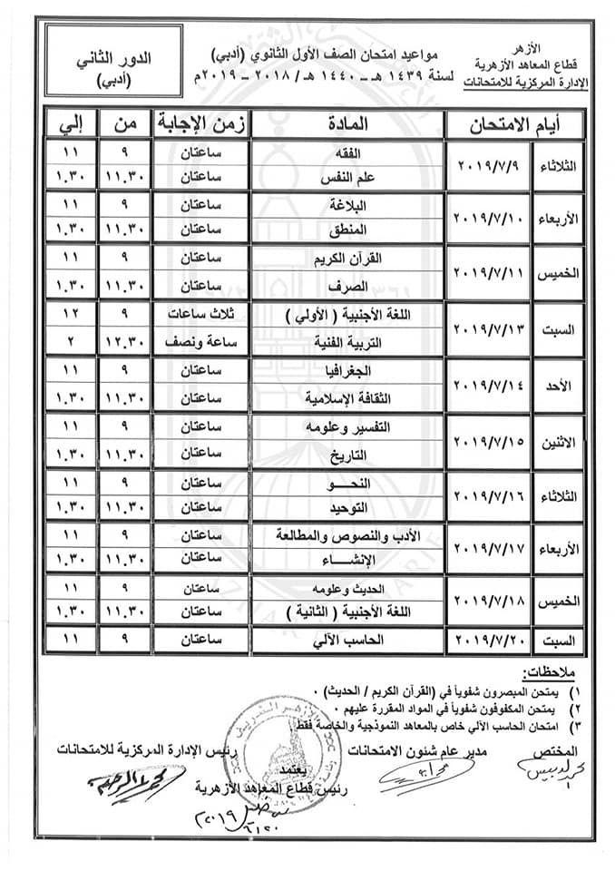 جداول امتحانات الدور الثاني 2019 للمعاهد الازهرية ابتدائي