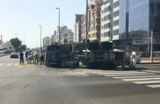 Abu Dhabi Police calls for truck safety after vehicle overturns