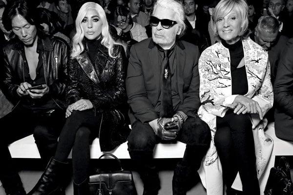 Stephen Gan, Lady Gaga, Karl Lagerfeld and Helene Arnault