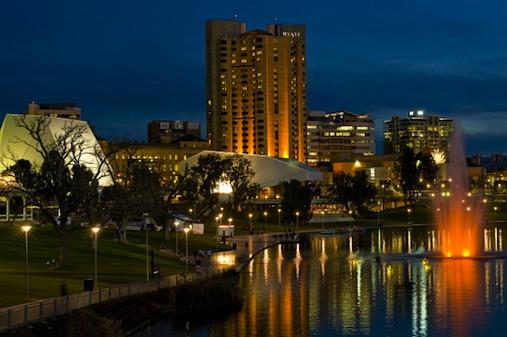 Torrens River at night, Adelaide, Australia.