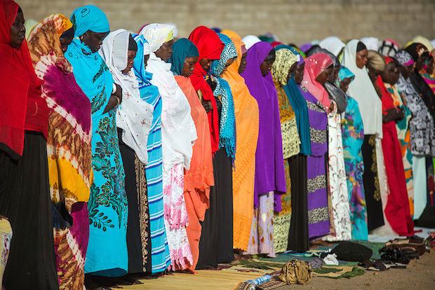 Muslims pray together at Zahra square in Juba, Sudan, to commemorate Eid Al Adha.