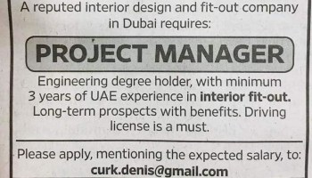 Hiring Project Manager and Site Supervisor Dubai UAE | Gulf