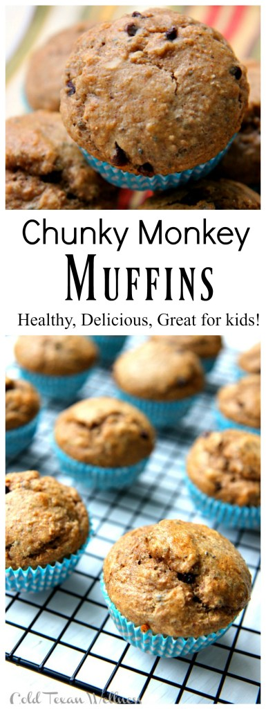 Chunky Monkey Muffins. A perfect combination of sweet bananas, salty peanut butter, and rich chocolate, but with a healthy twist! This delicious recipe is perfect for baby led weaning and those trying to be healthy but still enjoy sweet treats!