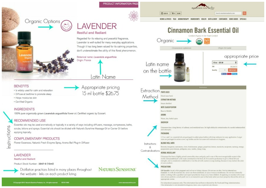 Examples of what a company with good quality essential oils looks like