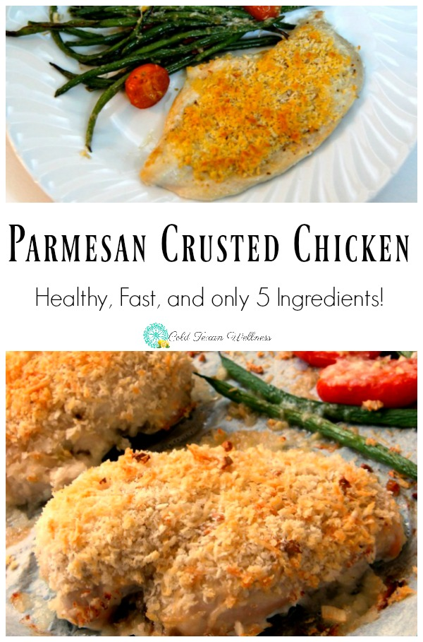 This Easy Parmesan Crusted Chicken is a favorite home cooked busy weeknight meal. This kid approved 5 ingredient recipe takes only 20 minutes to make. It is a gluten free recipe and is 21 day fix approved. Also makes a fabulous sheet pan dinner! #chickendinner #weeknightmeal #glutenfreerecipe #5ingredientrecipe #kidapproved