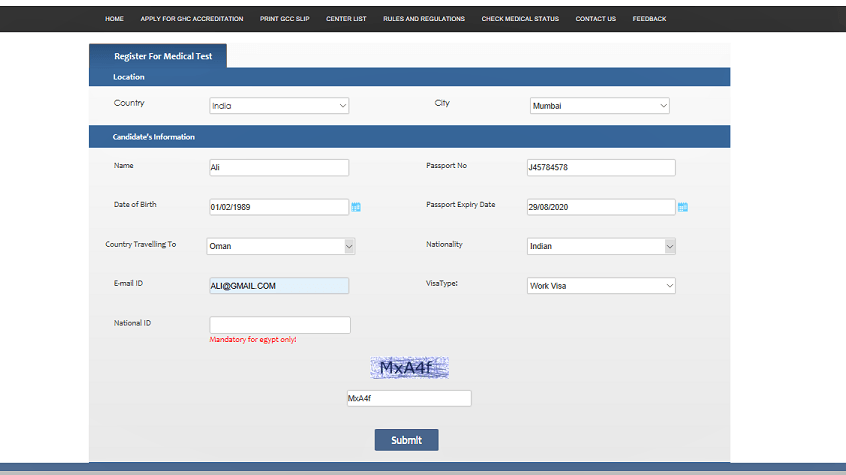 How to Book Online GAMCA/GCC Medical Test Appointment