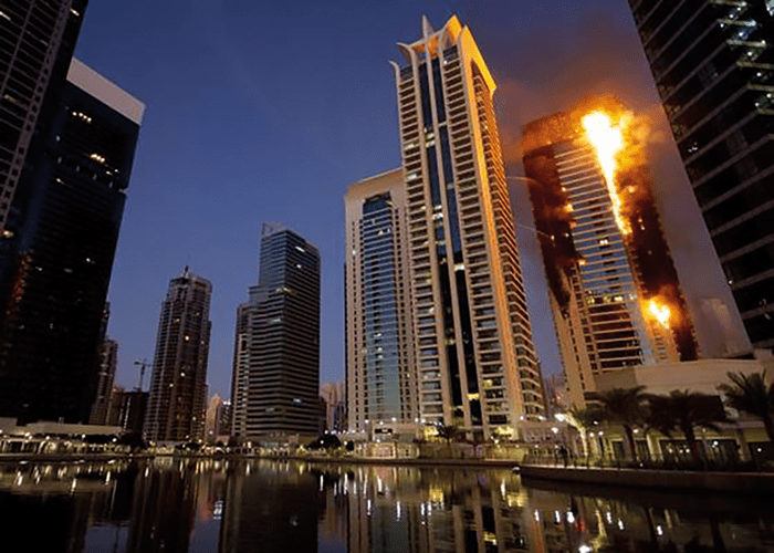 The Torch Tower Dubai fire on 21 February 2015, showing the spread of flame on the external faces of the tower.