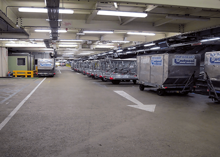 A view of part of the baggage handling area in a terminal at London's Heathrow Airport.