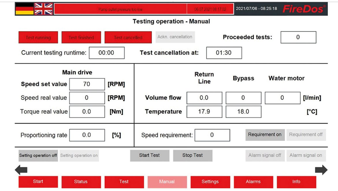 Display view for testing operation of the FireDos remote testing system.