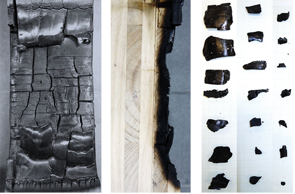 The term 'char fall-off' refers to charred pieces of the exposed lamella detaching from the timber structure and falling off, such as this CLT sample shows after burning under exposure to external heating of 20kW/m² and structural loading (Left: Front view. Middle: Side view). Exemplary pieces of char fall off collected from the floor of the setup after testing (Right).