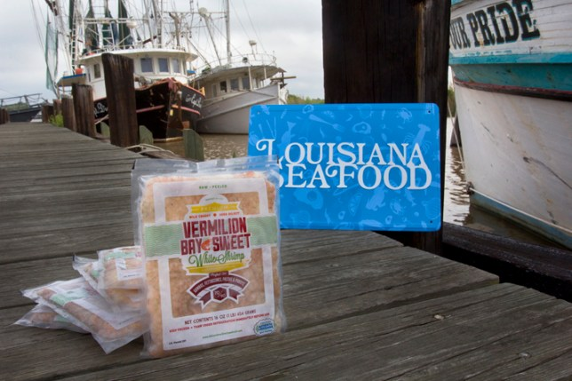 "To meet an ever-increasing demand for fresh, quality gumbo-sized shrimp, the Port of Delcambre and Delcambre Direct Seafood program have introduced the first product in the state carrying the ""Certified Authentic Louisiana Wild Seafood"" – the Vermilion Bay Sweet White Shrimp gumbo pack. Photo: Ed Lallo/Louisiana Seafood News"