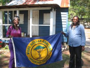 Queen Quet, Chieftess of the Gullah/Geechee Nation (www.QueenQuet.com) and Elder Louise Miller-Cohen at the historic marker at the Gullah Museum of Hilton Head.