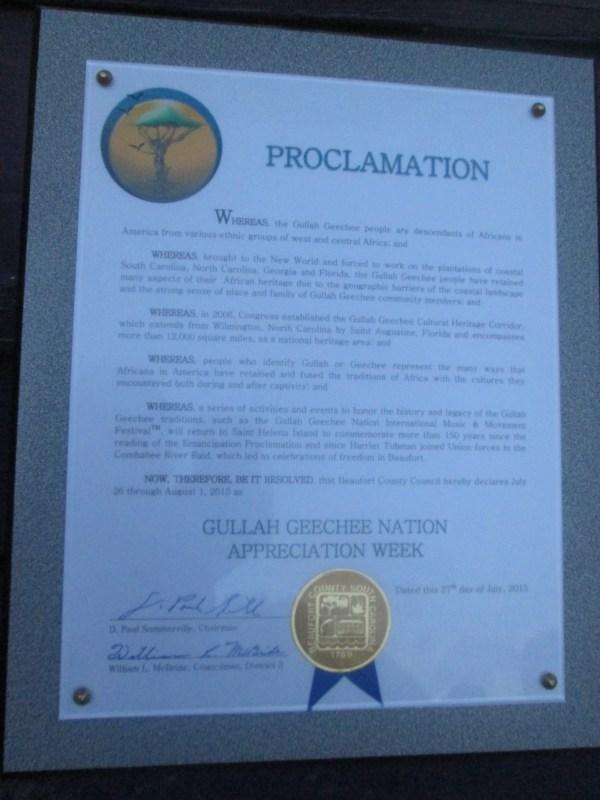 Gullah/Geechee Nation Appreciation Week Beaufort, SC Proclamation