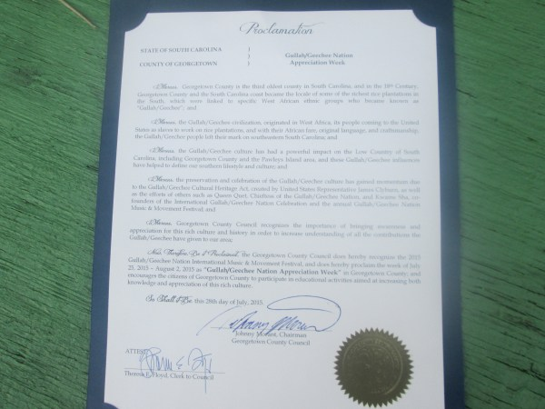 Georgetown County Gullah/Geechee Nation Appreciation Proclamation