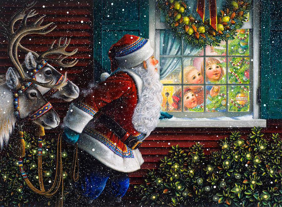 Santas at the window por Lynn Bywaters