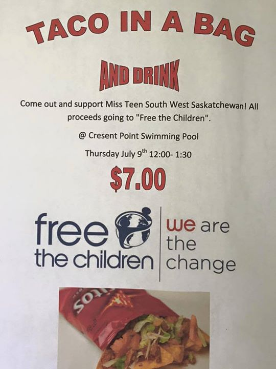 Taco In A Bag Fundraiser at Crescent Point Pool GULL LAKE  Crescent Point Pool