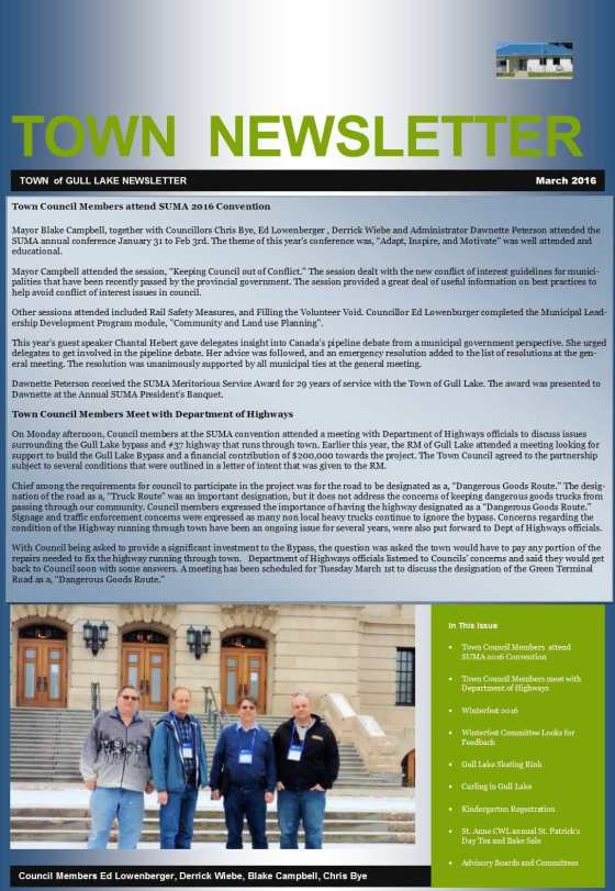Town March Newsletter Education Government GULL LAKE  Winterfest Volunteers Town Council Newsletter Mayor's Report Events Community
