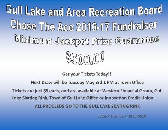 Pam Kirwan Wins this Weeks Chase the Ace Draw GULL LAKE Health & Wellness  Gull Lake Recreation Complex