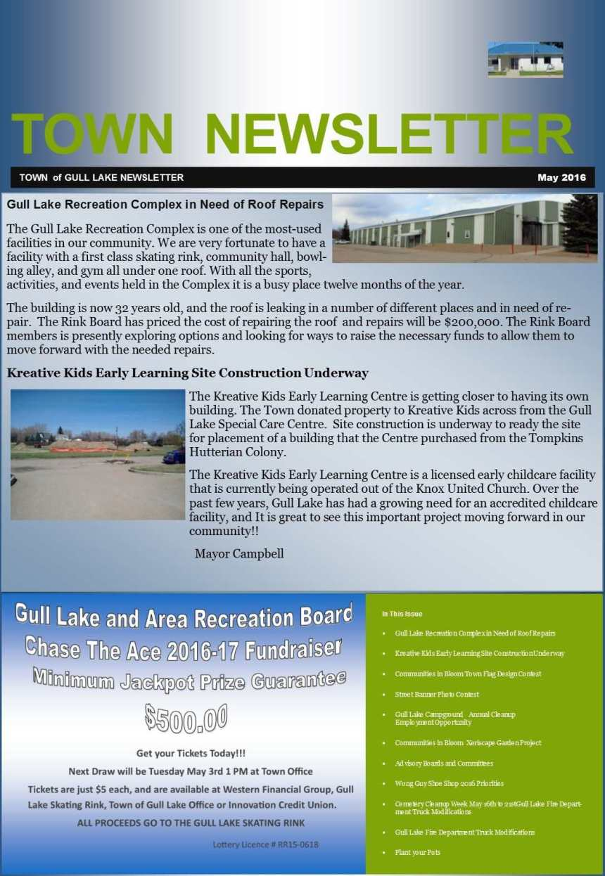 Town May 2016 Newsletter Education GULL LAKE Town Beautification  Wong Guy Shoe Shop Newsletter Kreative Kidz Early Learning Center Gull Lake Recreation Complex Gull Lake Heritage Committee Gull Lake Fire Department Gull Lake Cemetery Committee Gull Lake Campground Communities in Bloom