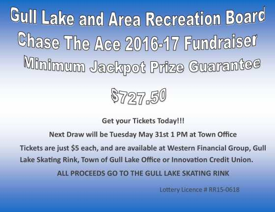 Julie Welk Wins this Weeks Chase the Ace Draw GULL LAKE  Gull Lake Recreation Complex